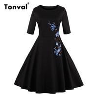 Tonval 3XL 4XL Plus Size Embroidery Dress Floral Half Sleeve Autumn Elegant Black Dress Retro Vintage