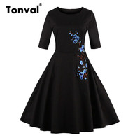 Tonval vrouwen borduren bloemen pailletten dress 2017 half mouw zomer elegante zwarte jurken vintage plus size dress