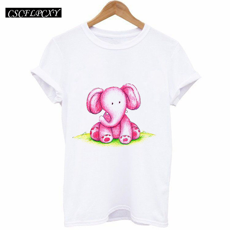 HTB1fBkRk3vD8KJjSsplq6yIEFXal - 2017 Casual T-shirt Women Tshirt Short Sleeve Kawaii Elephant Print Camisetas Mujer Tops Tee Shirt Female O-neck White Tees