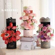 11x35 см цветочная упаковка цветочный букет цветочный подарочная упаковка бумажная цилиндрическая Подарочная коробка цветы Водонепроницаемая Переносная Цветочная корзина