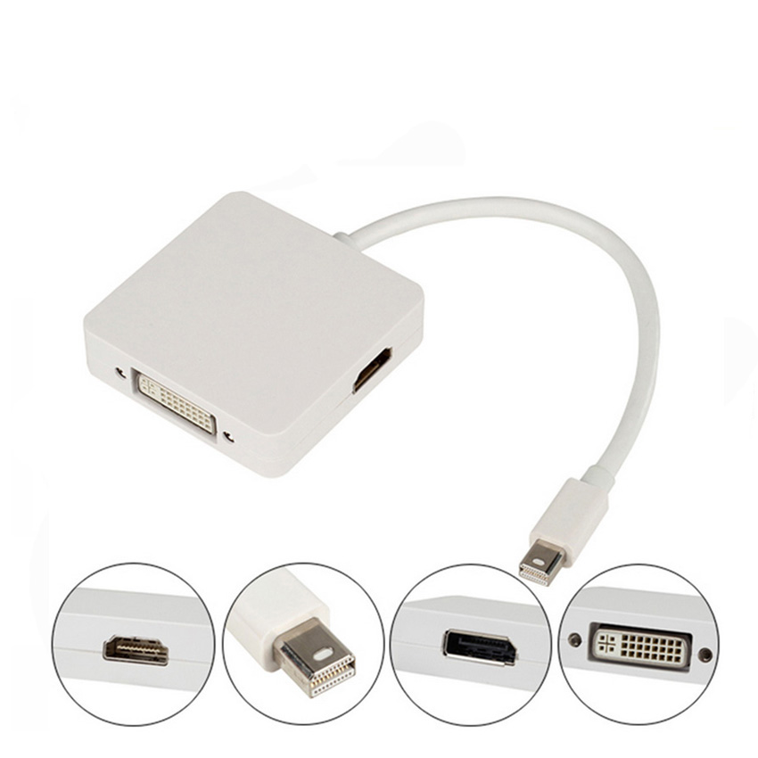 10pcs 3 in 1 Mini DisplayPort DP to DP DVI HDMI Cable Adapter For Macbook AIR10pcs 3 in 1 Mini DisplayPort DP to DP DVI HDMI Cable Adapter For Macbook AIR