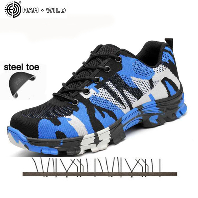 Askeri Güvenlik Ayakkabıları Çelik Burun Kapağı Camo Bahar Nefes Örgü Rahat Ayakkabı Emek Sigorta Delinme Geçirmez Iş Sneakers Mens
