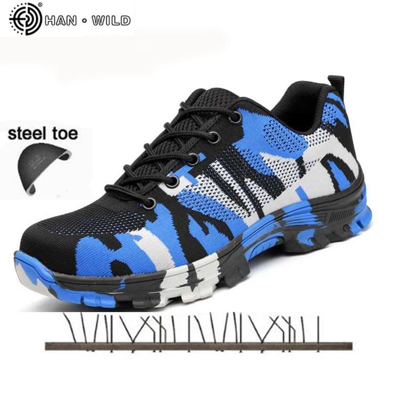 Puntale In Acciaio Scarpe di Sicurezza militare Camo Primavera Mesh Traspirante Scarpa Casual Puntura Prova di Assicurazione del Lavoro Lavoro Sneakers Uomo