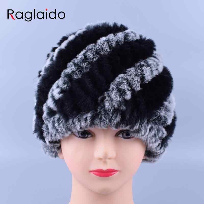 ... Women Genuine Knitted Rabbit fur hats for women Real Fur Beanies Rex Fur  Pom poms snow ... 067b92dc01e