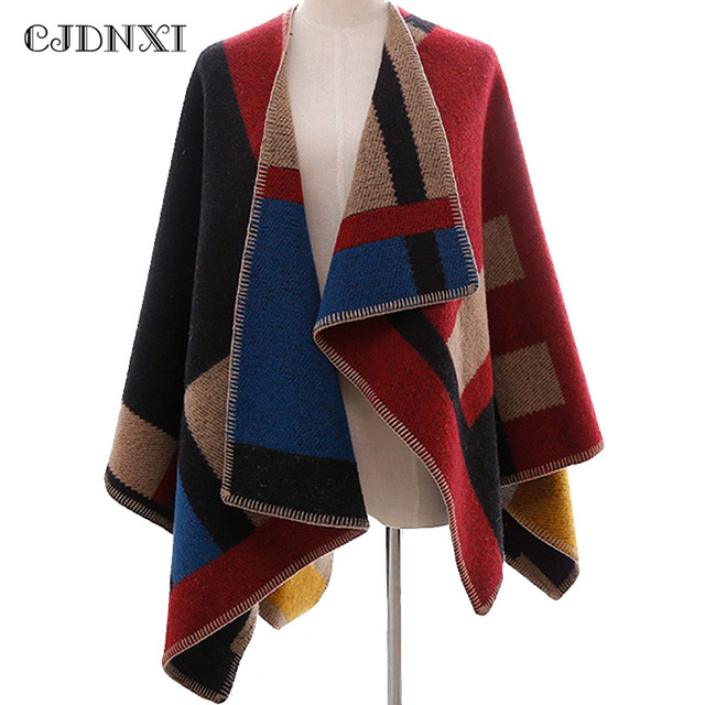 d0500186cd Wool Oversized Sweaters Winter Cashmere Plaid knitted Cardigans Poncho y  Capa Mujer Women Fashion Red Cape Cloak Shawl Blanket
