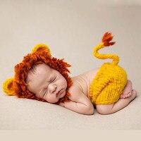 2016 Newborn Mane Lion Outfits Photo Prop Handmade Knitted Clothing Set Giraffe Woolen Beanie Costume Photography