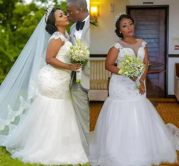 US $169.15 15% OFF|Sparkling lace Plus Size Wedding Dresses African 2019  scoop Modest Mermaid Trumpet Bridal Gowns Sweep Train Tulle Wedding gown-in  ...