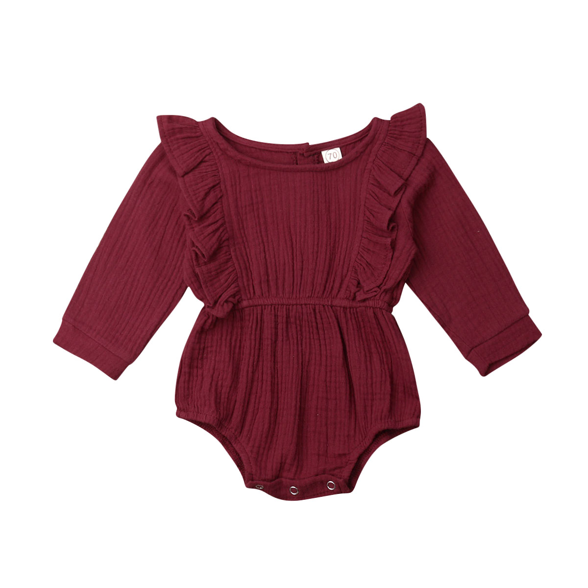 Wine Red Newborn Baby Girl Long Sleeve Ruffles Cotton Button Bodysuit Jumpsuit One Pieces Baby Clothes