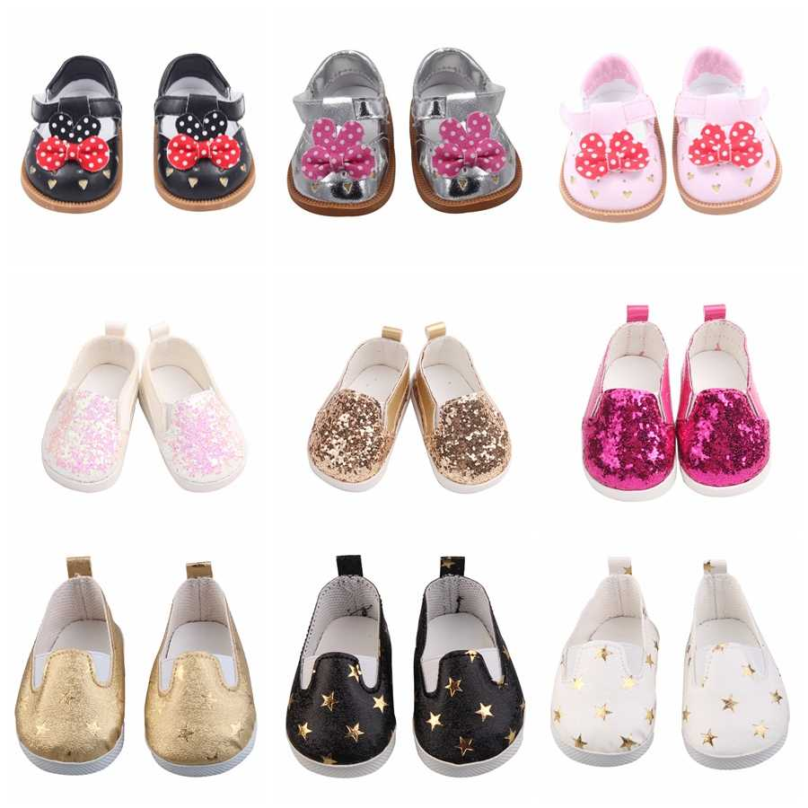 "Fashion Baby New Born Doll Shoes Cat Bowknot Style Shoes Leather Shoes Fits 43 cm Dolls and 18"" American Girl"
