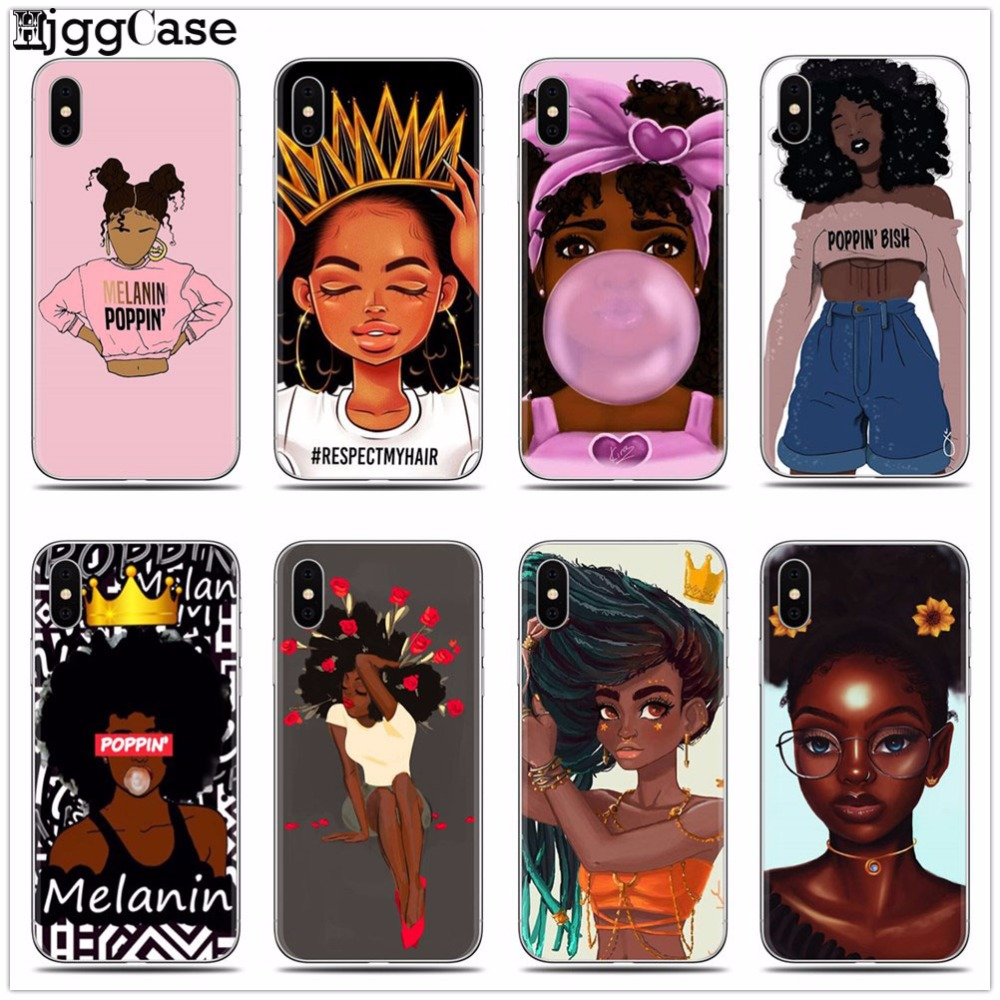 2bunz Melanin Poppin Aba Soft Silicone Phone Case for iPhone X XR XS Max 6 6s 7 8 Plus 5 5S SE Fashion Black Girl Cover(China)