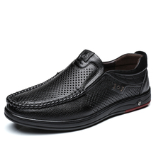 Big Size 38-45 Summer Casual Male Shoes Breathable Genuine Leather Mocassins Luxury Brand Mens Hollow Out Flats DA080