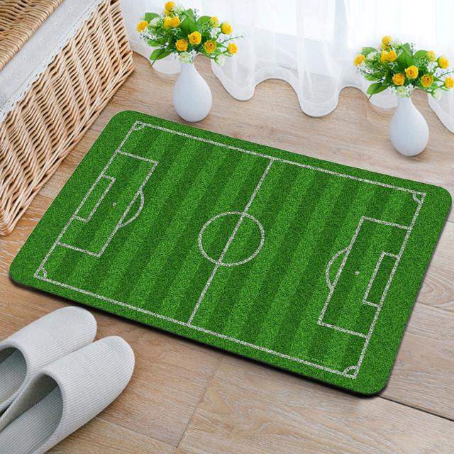 Yazi Creative Football Field Gate Carpet Non Skid Bath Doormat Floor Mat  Water Absorbency Hallway Rug