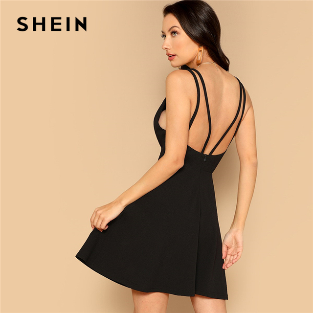 4ca8a3be2f SHEIN Sexy Black Plunging Neck Sleeveless Spaghetti Straps Zipper Back Fit  and Flare Slim Mini Dress