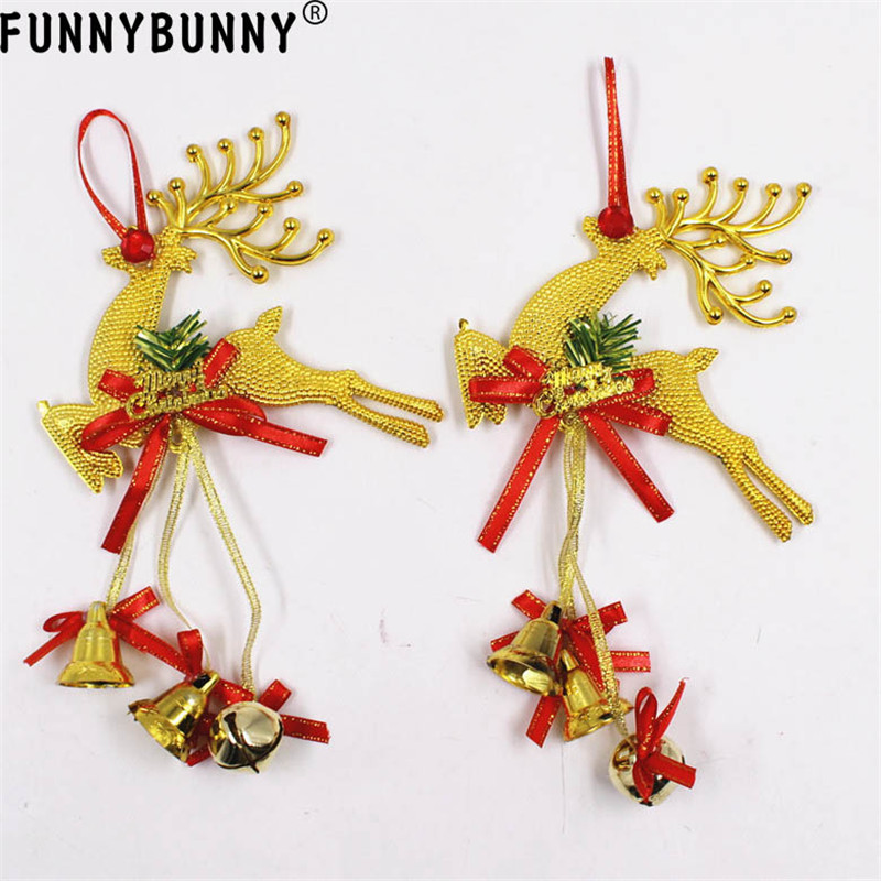 FUNNYBUNNY 1PCS Reindeer Home Christmas Tree Ornament Deer Hanging Pendant With Bells in Christmas Bells from Home Garden