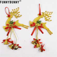 FUNNYBUNNY 1PCS Reindeer Home Christmas Tree Ornament Deer Hanging Pendant With Bells