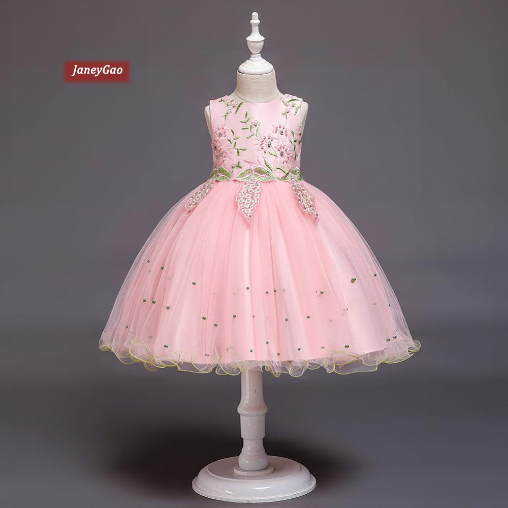 JaneyGao   Flower     Girl     Dresses   For Wedding Party   Girls   Formal Tulle Pageant   Dress   embroidered