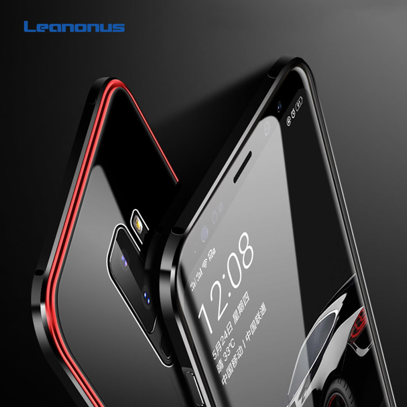 Mirror Case For Samsung Galaxy S9 S9 Plus S9+ Cover Metal Bumper+Plating PC Edge+Tempered Glass Back Hard Case 3 in 1 Thin Capa iPhone XS