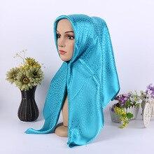 Moda Raso Jacquard Sciarpa Musulmana Metallico Dellinvolucro Della Sciarpa Retro Turbante Piazza Hijab Islamico Foulard delle Donne Con Cappuccio 90x90cm