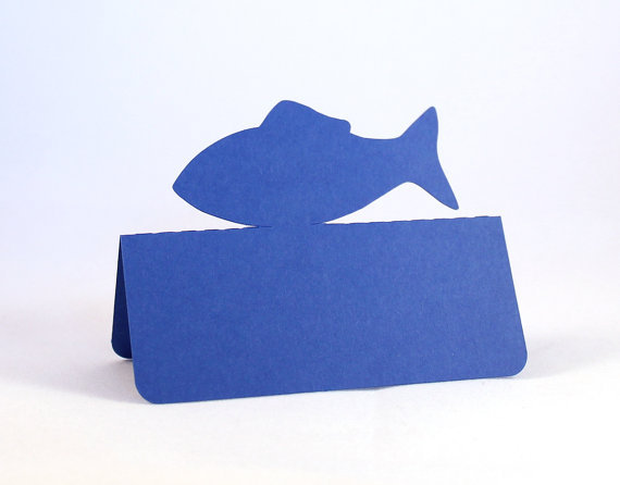 Fish Shape Tent Place Cards Ocean Wedding Bridal Baby