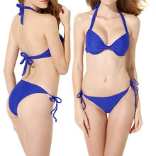 цена на Jeebel Triangle Solid Tie Up Bikini Set Swimsuit Swimwear 2018 Sexy Women Two Piece Bathing Suit Push Up Summer Beach Blue