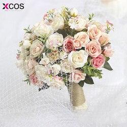 Ramo de boda blanco púrpura hecho a mano flor Artificial Rosa caso ramo de novia para la decoración de la boda 2017