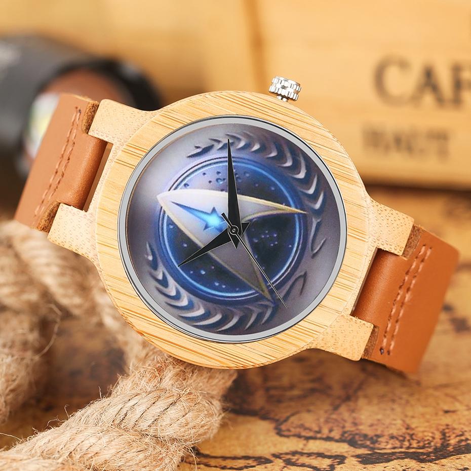 Casual Wooden Watch Fashion Movie Theme Star Trek Bamboo Clock Men Genuine Leather Band Sport Boys Minimalism saat erkekler 2017 watches (9)