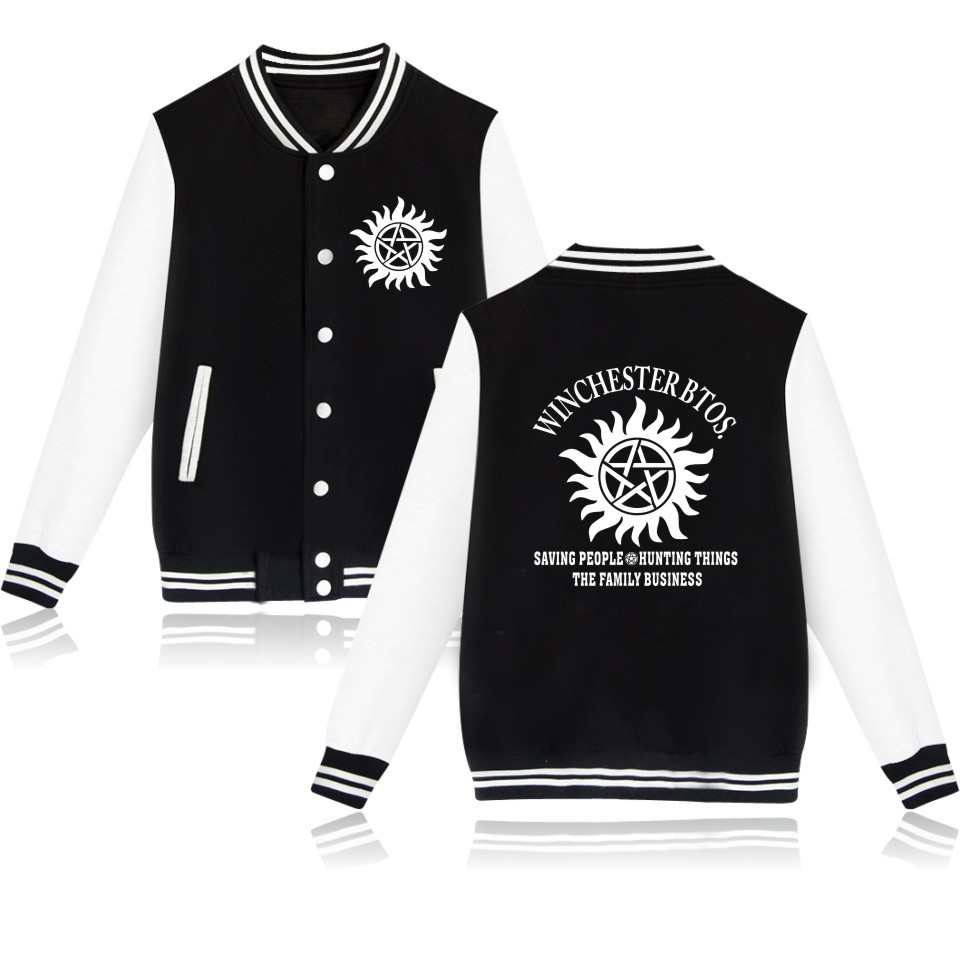 Unisex Supernatural Coslplay Baseball Jacket Coat Sweatshirt Winchester Brothers Casual Men Women Hoodies Uniform Outwear