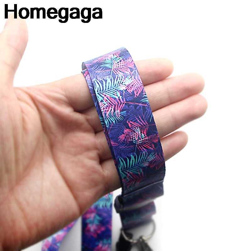 Homegaga Ungu Bunga Daun Lanyards Leher Tali ID Lencana Pemegang Telepon Kalung untuk Kunci Pemegang Lencana Anyaman Pita D2129