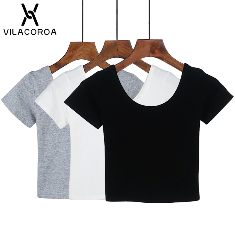 Vilacoroa Best Sell U Neck Sexy Crop Top Ladies Short Sleeve T Shirt Tee Short T-shirt Basic Stretch T-shirts #4