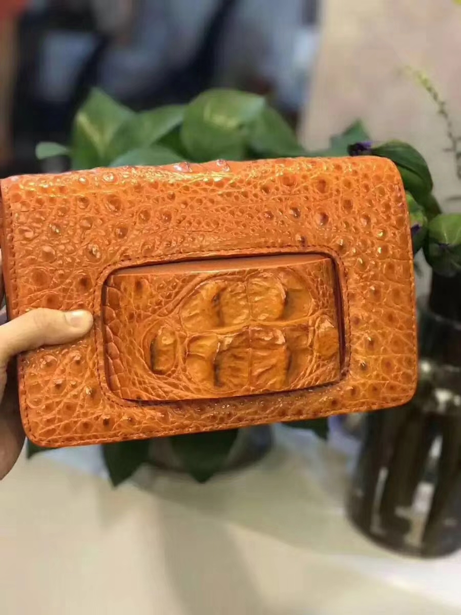 2018 100% genuine crocodile leather head part skin long size women cluch with hand holder free shipping