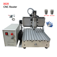 DIY CNC metal router 3axis Laser Cutting Machine 3020Z VFD 800W water cooled spindle With USB Port