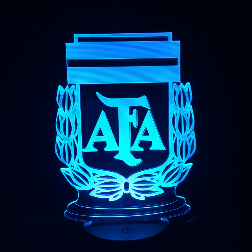 2018 Futbol de Argentina AFA Football Team 3D Lamp 7 Colors Change LED Night Light Boy Friend Kids Father Gifts Drop Ship