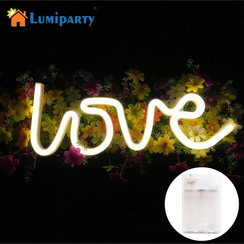 LumiParty LOVE Letters Shape LED Night Light Wall Hanging Neon Light For Festival Party Wedding Decor