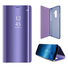S9+ Luxury Flip Cover Leather Smart Case For Samsung Galaxy S9 Plus Clear View Standing Mirror for S 9