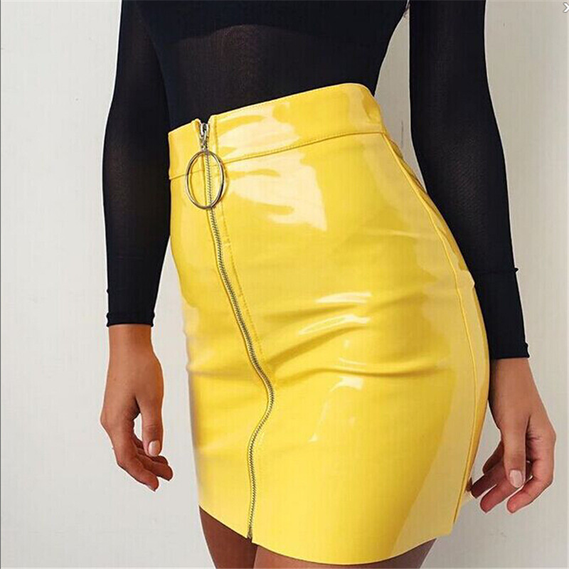 2018 New Women Autumn Winter Tight Suede Skirt Fashion High Waist Zippers Front Pockets Mini Pencil Skirt For Women