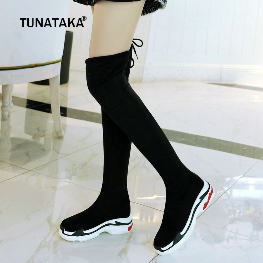 купить Winter Warm Fur Thigh Boots Women Faux Suede Flat Heel Comfortable Over the Knee Boots Platform Fashion Long Boots Woman 43 2018 по цене 2266.63 рублей