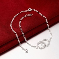 925 Stamped Silver plated Bohemian clear CZ Anklet Luxury Charm Round Ankle Bracelet For Women Jewelry Summer Style