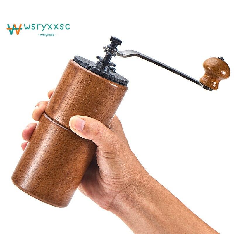 Luxury Log Iron Core Manual Coffee Bean Grinder Mini Portable Coffee Machine Adjustable Bean Nut Grinder Kraft Carton Packaging