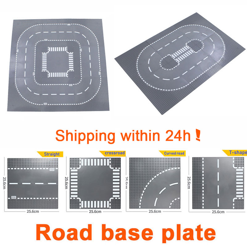 City Road Baseplate Straight Crossroad Street View Road Base Plate Building Blocks Compatible LegoINGlys City Bricks Toys