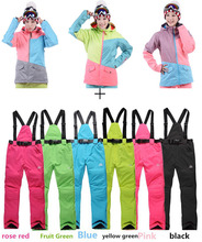 High Quality GSOU SNOW Multicolor Women Ski Suit Sets Waterproof 1000 Thick Winter Warm Clothes Snowboard Costume Jacket+Pant