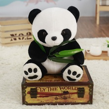 ASSOT Funny Panda with Bamboo Leaves Plush Toys Soft Cartoon Animal Black and White Stuffed Pendant Doll Kids Gifts