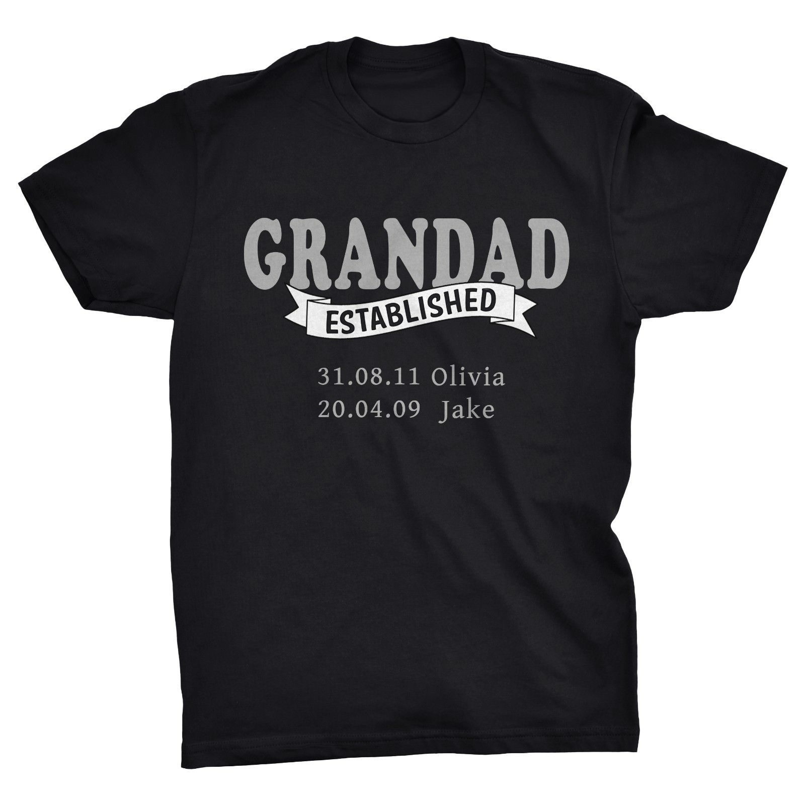 GRANDAD Established Personalised Fathers Day T-shirt, Kids names and birthdays  Harajuku Tops Fashion Classic free shipping