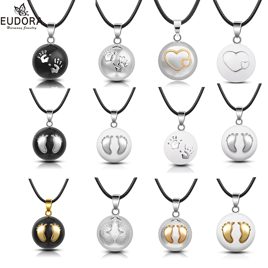 Eudora Plated Silver Baby hands footprint Chime Ball Pendant Necklace Pregnant Ball Angel Caller Pendant For Women MOM Best Gift