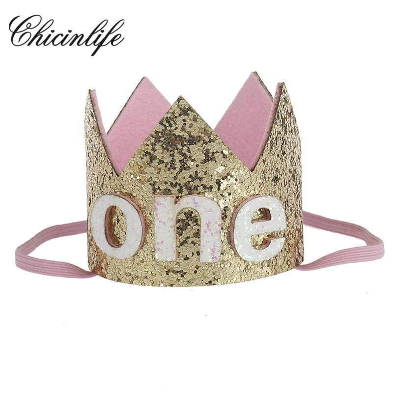 Chicinlife Baby Girl First Birthday Hat Headband Crown 1 2 3 Year Old Princess Hairband Photo Props Shower Party Supplies In Hats From Home
