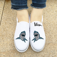 Wen White Black Slip On Shoes Original Design Shark Fierce Animal 2 Colors Unisex Canvas Sneakers