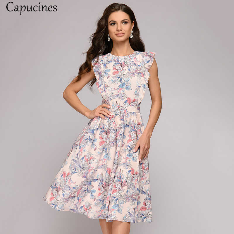 Fresh Plant Print Fit And Flare Summer Dress Cap Sleeve Round Neck A-Line Dress For Women Ruffles Trim Casual Office Work Wear