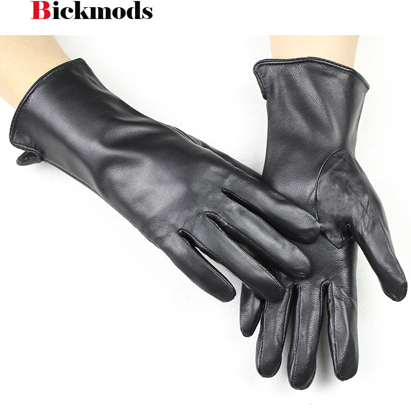 2018 New Women's Sheepskin Leather Gloves Straight Style Thin Rayon Lining Driving Spring And Summer Points Mittens