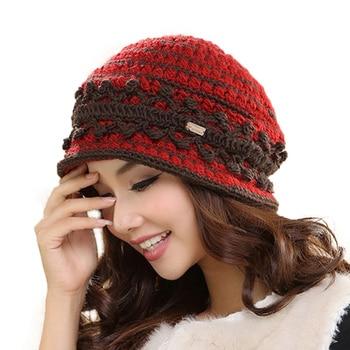 Winter Wool Warm Hat Short Brim Casual Caps For Women 1