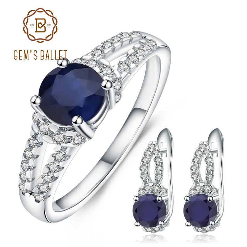 GEM S BALLET 3 94Ct Natural Blue Sapphire Earrings Ring Set Fine Jewelry Solid 925 Sterling