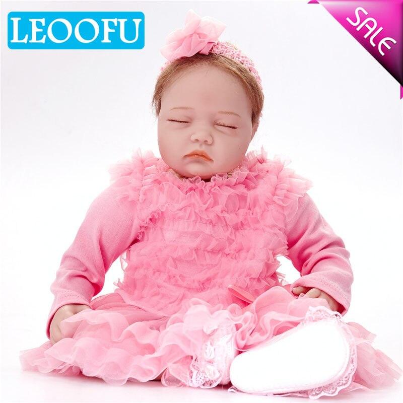 LEOOFU 55 cm 22 pouce jouet poupée classique princesse fille jouet à la main silicone vinyle bébé reborn poupées avec rouge rose vêtements set enfants